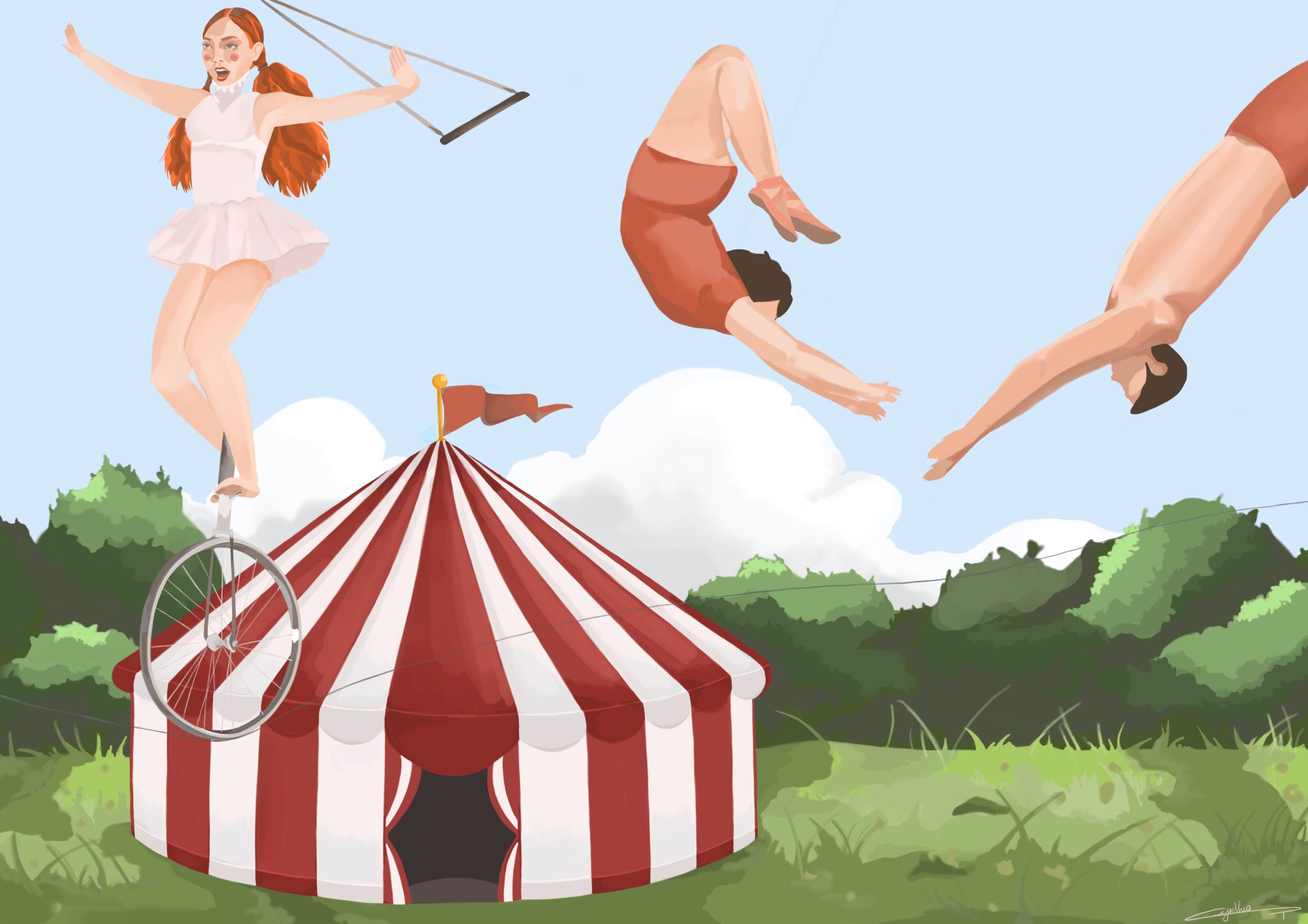 Au cirque illustration de Cynthia Artstudio