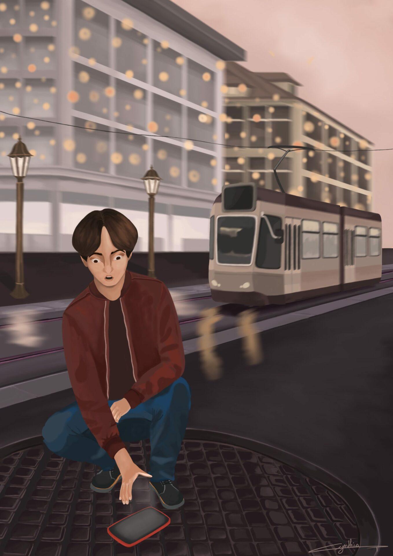 Téléphone perdu illustration jeux vidéo
