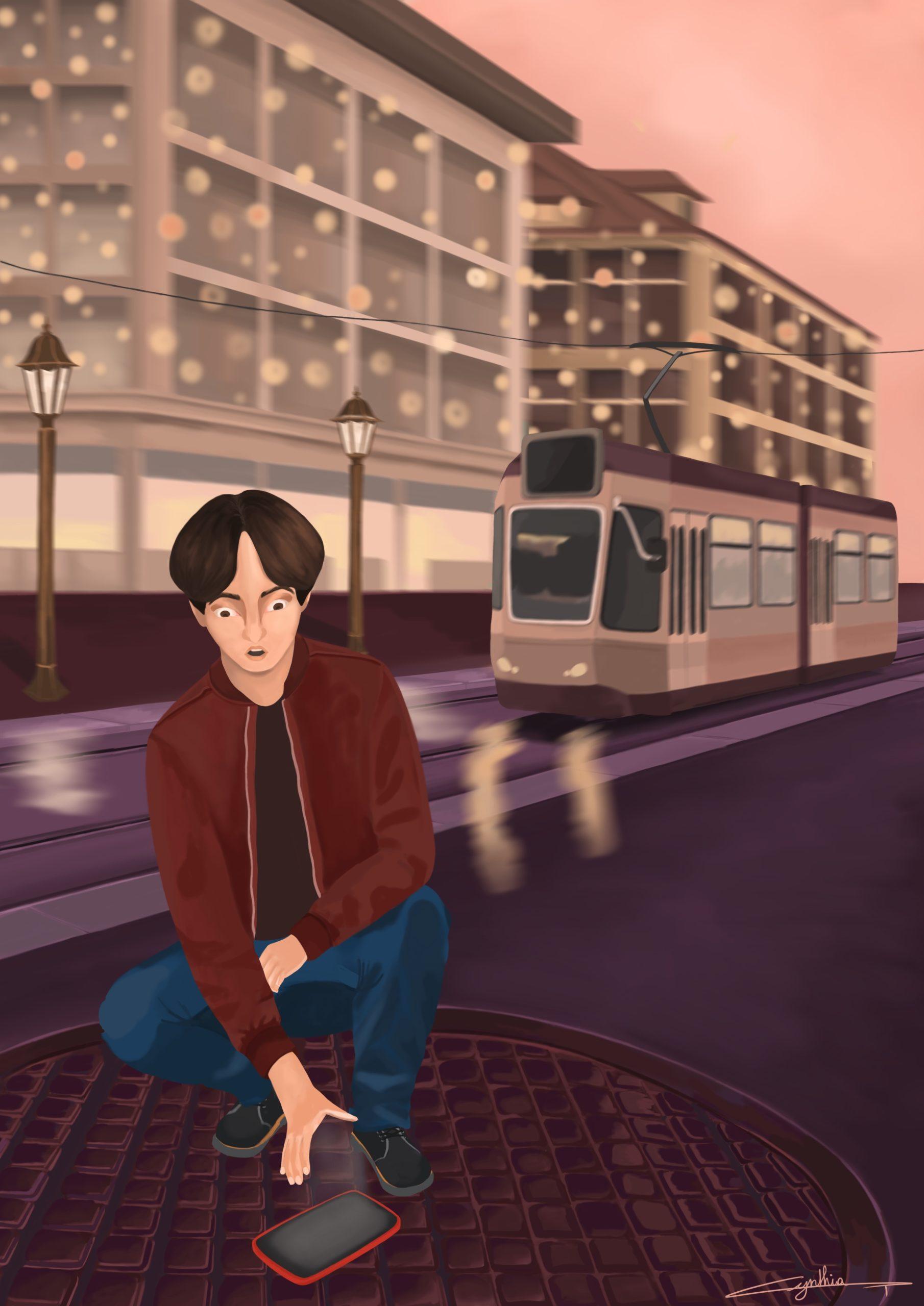 Téléphone perdu illustration jeu vidéo de Cynthia Artstudio