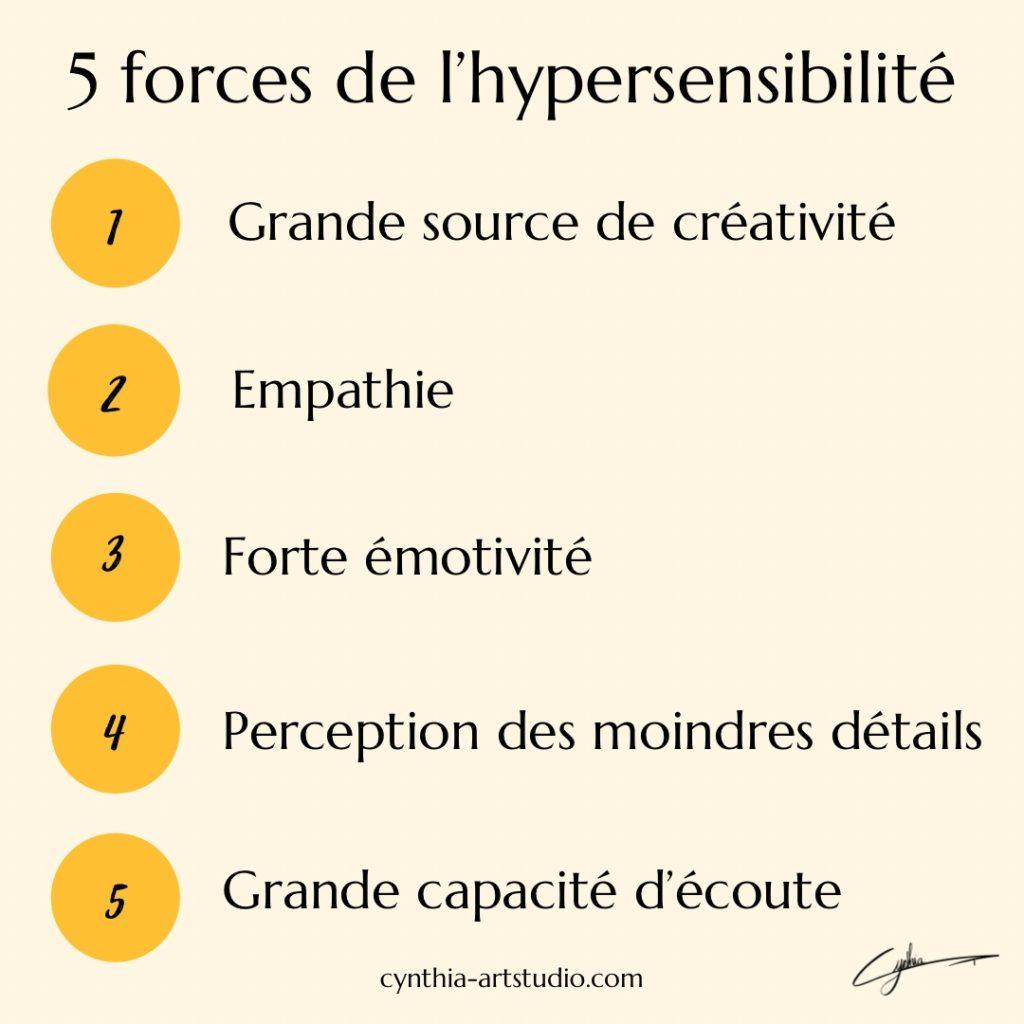 Cinq forces de l'hypersensibilité article écrit par Cynthia Artstudio