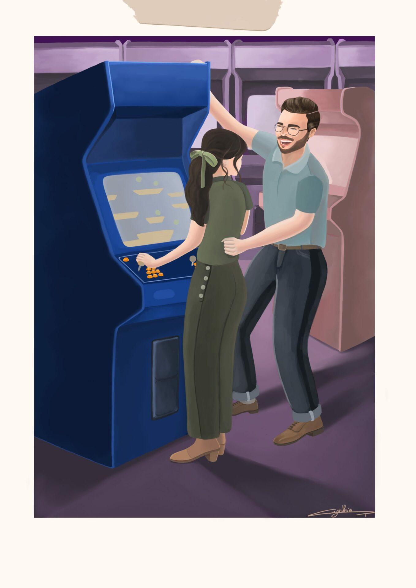 Jeux d'arcade illustration de Cynthia Artstudio